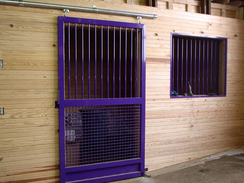 Stall Door With Crosshatch Bottom/ Bar Top